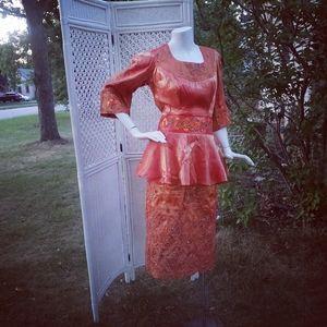 African Style Gala Peplum Beaded Orange Dress